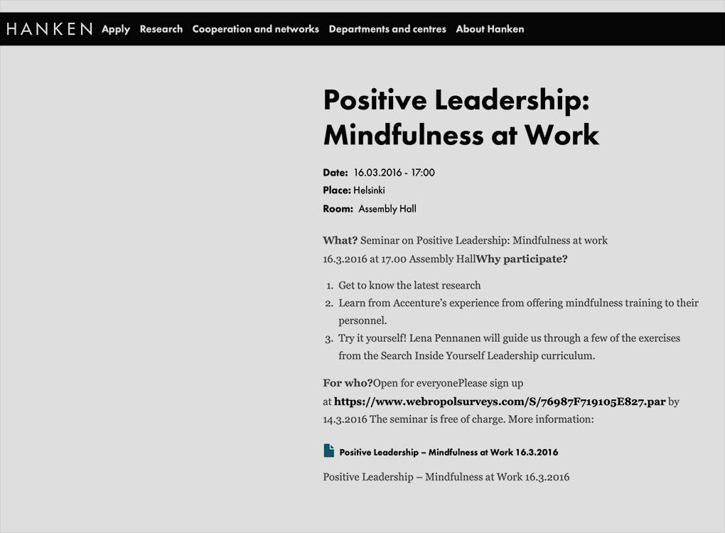 Video: Positive Leadership - Mindfulness at Work (Hanken)